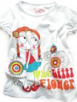 Dívčí bílé triko s copatou holkou značky LOSAN