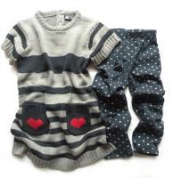 Dívčí srdíčkové šaty a modré legíny značky LOSAN