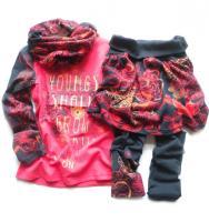 Dívčí barevné triko, sukýnka, legíny a šálka značky LOSAN