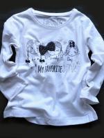 Dívčí bílé triko s panenkami dlouhý rukáv značky LOSAN